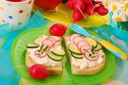 breakfast sandwich: healthy breakfast for child with cottage cheese,radish and cucumber in bee shape