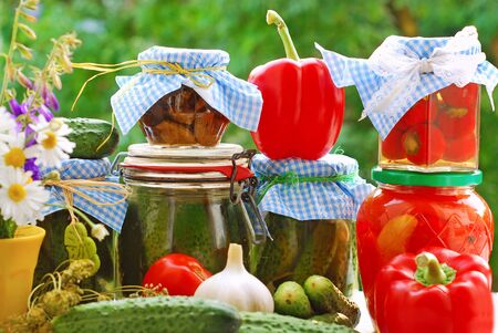 jars of various homemade vegetable preserves on the table in the garden photo