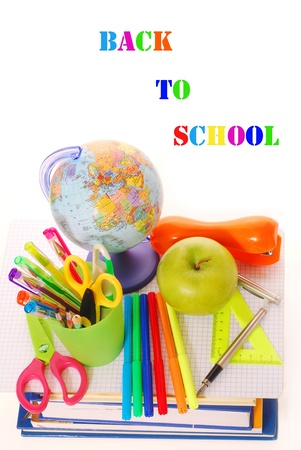 brusch: background with basic equipping the pupil for the beginning of the school year Stock Photo