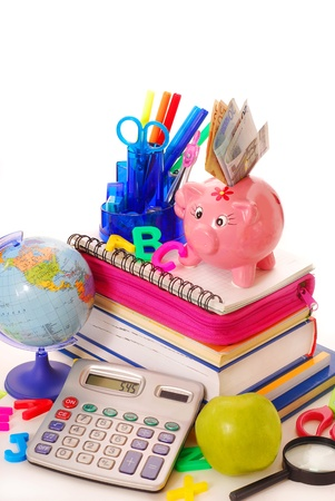 calculating of high costs for equipping the pupil at the beginning of  the school year photo
