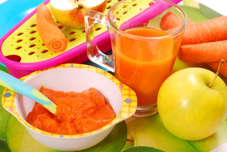bowl of fresh grated carrot and apple puree as homemade baby food Stock Photo - 10281356