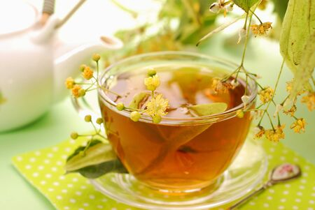 fresh healthy linden tea in glass cup Stock Photo - 10281350