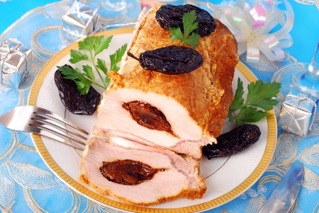 prune: roasted loin of pork stuffed with prune for christmas dinner