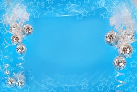 christmas background with mirror balls and star shapes in blue color Stock Photo - 11445611