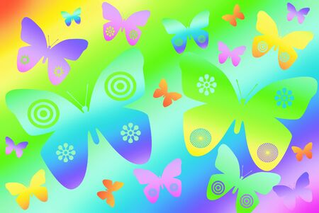 illustration of colorful butterflies flying on rainbow background illustration