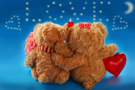 embracing couple of teddy bears on valentine`s date sitting with back and looking at stars in the sky forming the word