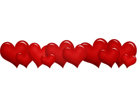 row: valentine`s border with red hearts in a row  Stock Photo