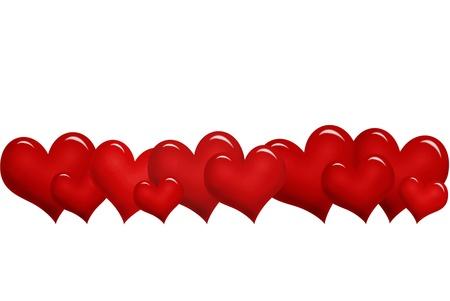 valentine `s grens met rode harten op een rij