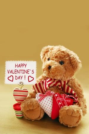 vintage teddy bears: romantic teddy bear with  Stock Photo