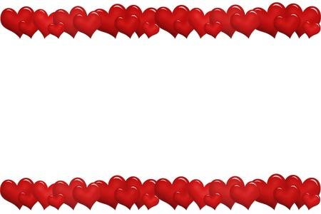hilera: marco de Valentine `s con corazones rojos en una fila hacia arriba y hacia abajo Foto de archivo