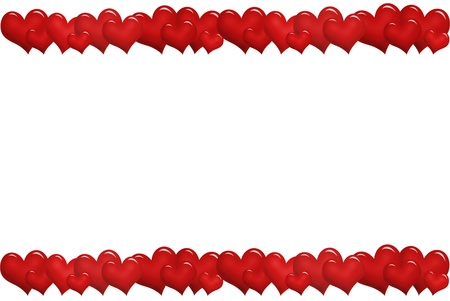 row: valentine`s frame with red hearts in a row up and down