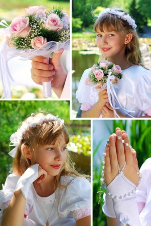 collage with portraits of the girl going to the first holy communion photo