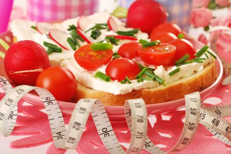 tomato slices: measure tape and sandwiches with cottage cheese,cherry tomato,chives and radish as diet breakfast