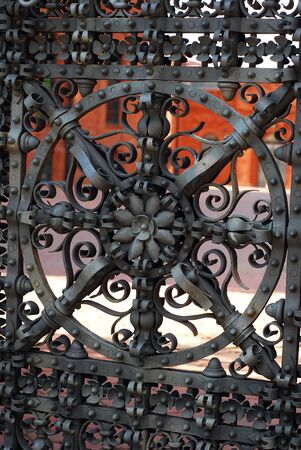 beautiful old gate of historic Poznanski factory in restored shopping centre-Manufactura in Lodz  Poland  photo
