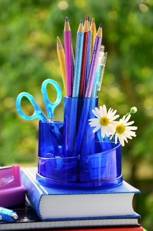 school equipment with color pencils in blue organizer against green trees photo