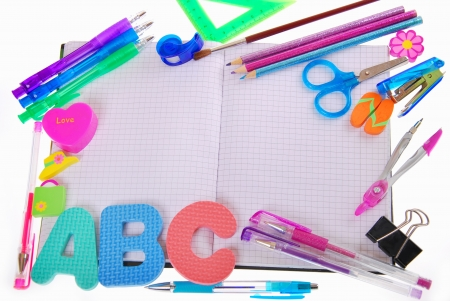 crayon drawing: school background with graph-paper notebook,letters and accessories isolated on white Stock Photo