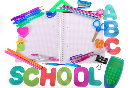 school background with graph-paper notebook,letters and accessories isolated on white photo