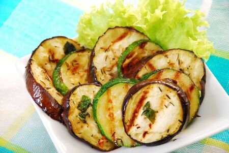 salad with grilled aubergine and zucchini marinated in oil and herbs