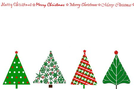 christmas christmas tree: festive card design with a row of christmas trees in various stylization and greetings