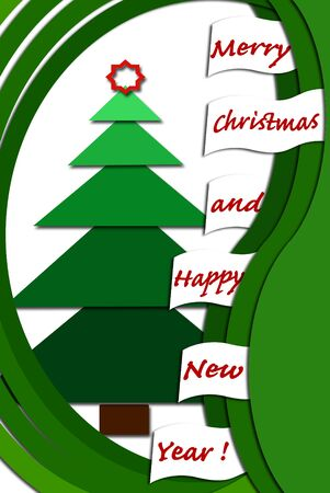 christmas card design with green layers fir tree and greetings photo