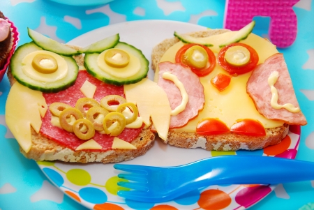 funny food: funny sandwiches with owl made from cheese,sausage and vegetables for child