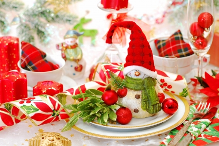 christmas table set with funny snowman in red cap on the plate