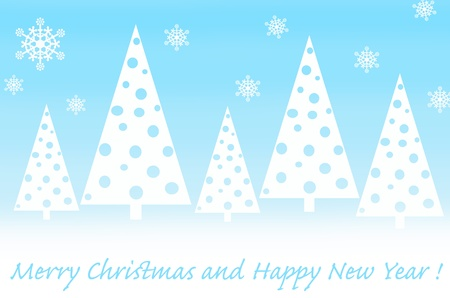simple card design with triangular christmas trees in white and blue colors  photo