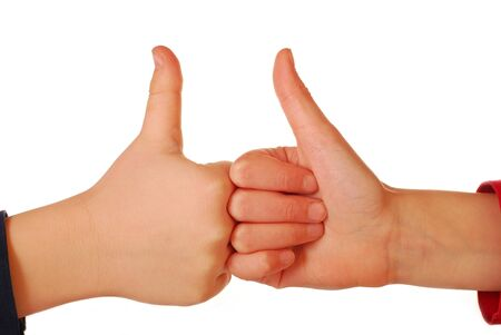 whie: children`s hands with thumbs up isolated on white
