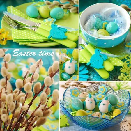 collage con fotos de decoraci�n de las mesas Pascua en colores azul y verde Foto de archivo - 17204109
