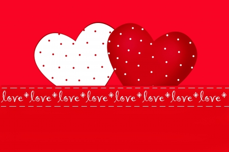 valentine`s card with red and white hearts in dots photo