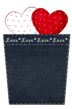 valentine`s card with two hearts in dots in denim pocket photo