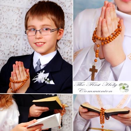 confirmacion: collage con la primera santa comunión rezando-boy y detalles Foto de archivo