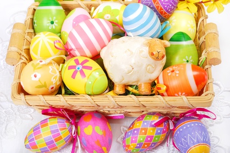 colorful decoration with easter painted eggs and sheep figurine in wicker basket Stock Photo - 18250236