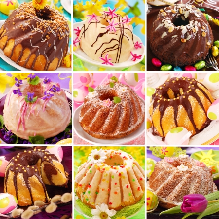 collage of nine various easter ring cakes collection  photo