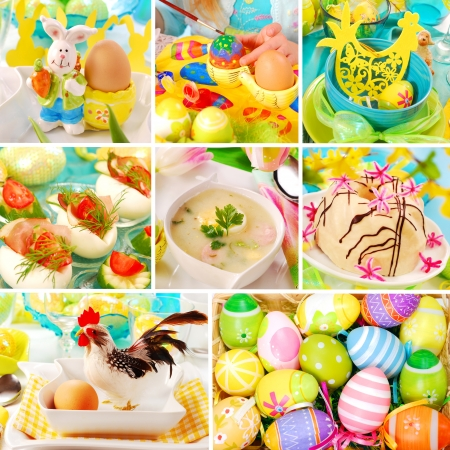 collage with colorful easter decorations and traditional polish dishes photo