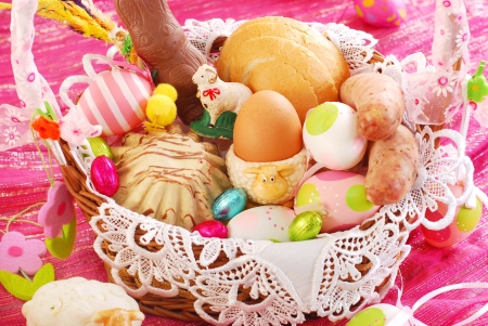 blessing: easter basket with traditional polish food and decorations