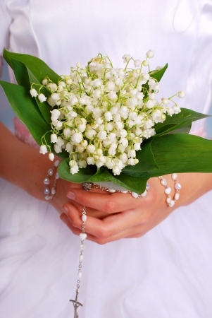may lily: lily of the valley bunch for the first holy communion Stock Photo