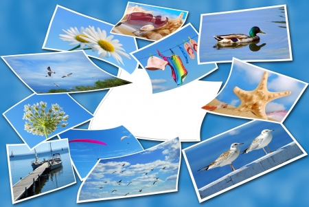 stock photograph: summer holidays  photos collection with one blank card on blue background