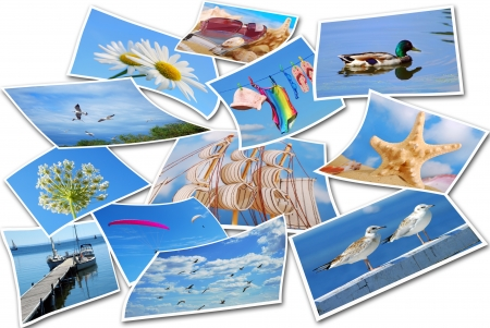 summer holidays  photos collection isolated on white photo