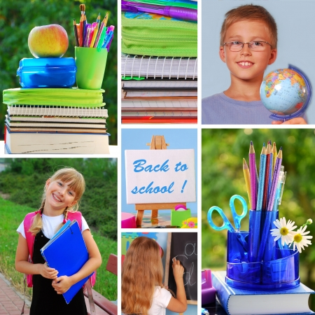 colorful collage with back to school concept  photo