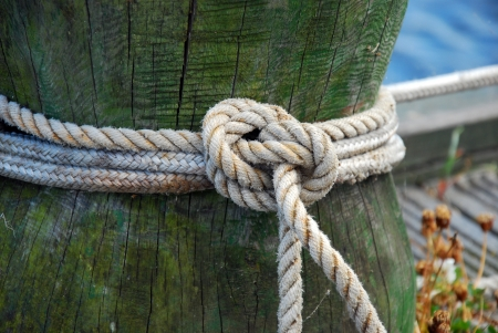 mooring: old wooden mooring bollard with knotted rope in the ship port