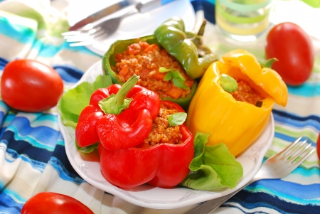 bell peppers: three color bell peppers baked and stuffed with minced meat and vegetables