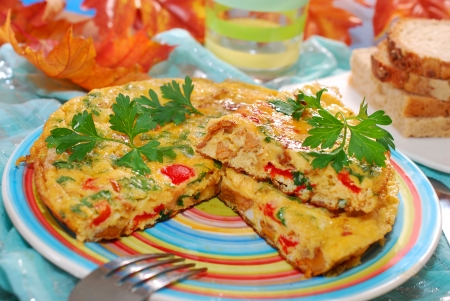 chanterelle: frittata with chanterelle,onion,red pepper and parsley for autumn breakfast or lunch
