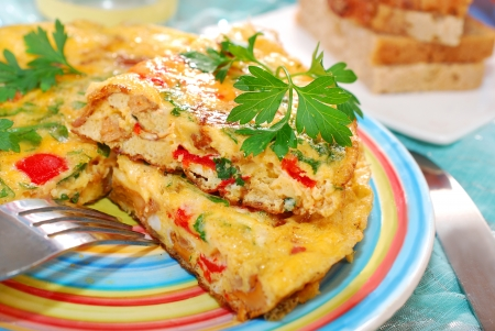 frittata with chanterelle,onion,red pepper and parsley for autumn breakfast or lunch