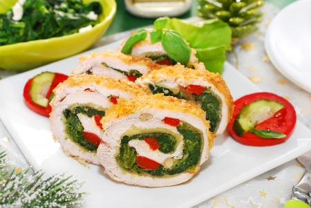 chicken roulade with spinach,cheese and red pepper for christmas dinner