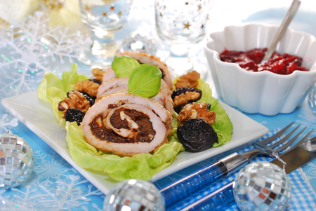 roulade: turkey roulade slices stuffed with prune and walnuts for christmas dinner