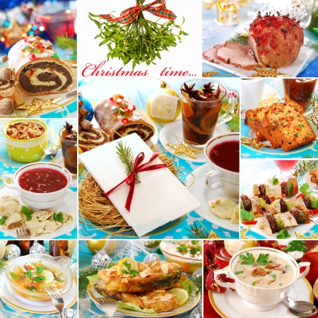 collage with many photos of traditional polish dishes for christmas  Banco de Imagens