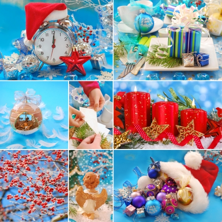 collage with christmas decorations in red and blue colors photo
