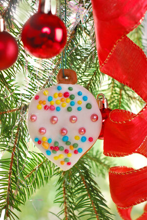 beautiful homemade gingerbread cookie hanging on christmas tree photo