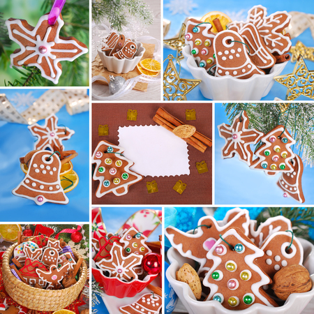 christmas collage of homemade gingerbread cookies decorated with icing photo